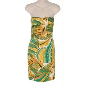Trina Turk by BNR Pisces Yellow Strapless Dress